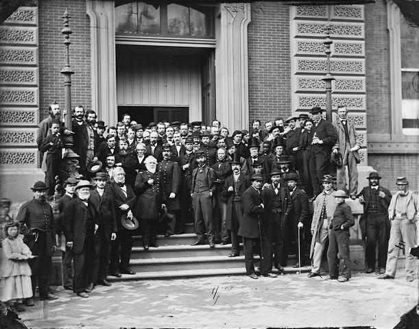 Staff on steps of Quartermaster General's office