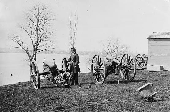 Two Wiard guns at the Arsenal, with Gen. Daniel E. Sickles