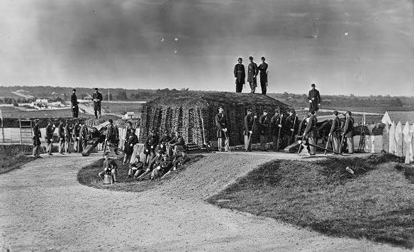 Company K, 3rd Massachusetts Heavy Artillery, by guns of Fort Stevens