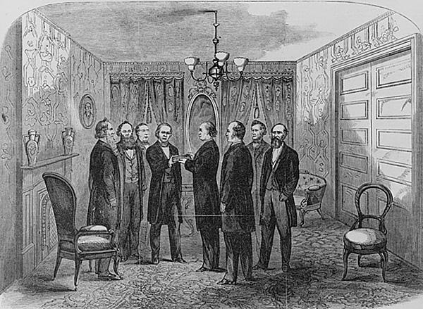 Andrew Johnson taking oath of office
