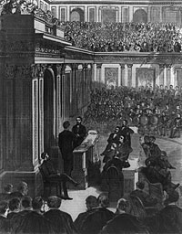 Vice President Wade administering oath to Schuyler Colfax
