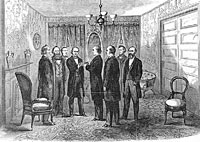 Andrew Johnson taking the oath of office in the Parlor of the Kirkwood House