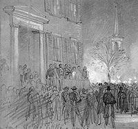 Torchlight parade by General Blenker's Division in honor of General McClellan's promotion