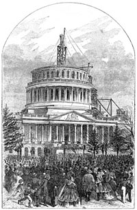 Incompleted Capitol on Inauguration Date