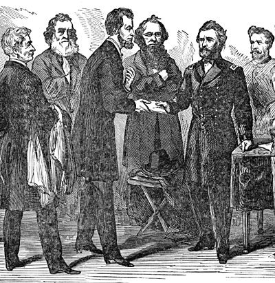Ulysses S. Grant receiving his commission as Lieutenant-General from Abraham Lincoln