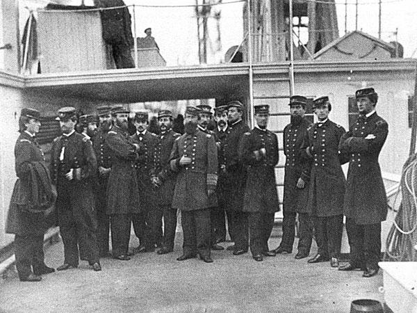 David D. Porter and staff aboard his flagship, U.S.S. Malvern