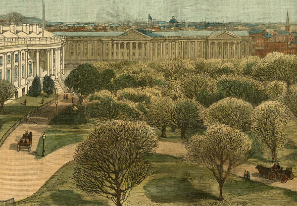 View of the White House and Grounds, from the Army and Navy Buildings, (Closeup)