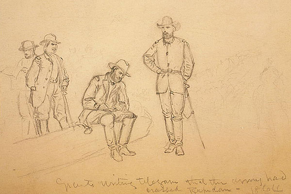 Grant writing a telegram that the Army had crossed Rapidan 1864