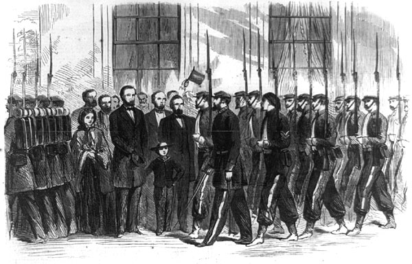 President Lincoln, Mary Todd Lincoln and Tad Lincoln Reviewing the NJ Brigade