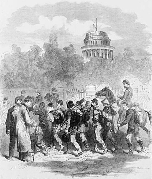 Convalescent Soldiers marching by U.S. Capitol with unfinished dome