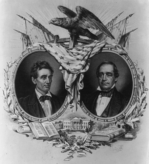 Campaign Banner for Republican Candidates, Abraham Lincoln and Hannibal Hamlin