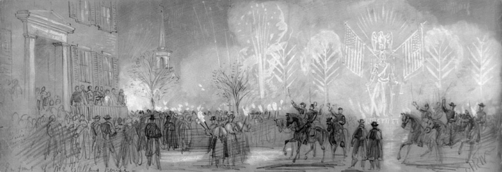 Torchlight parade by General Blenker's Division in honor of General McClellan's promotion to Commander-in-chief of the Army, Washington D.C., Nov. 3, 1861