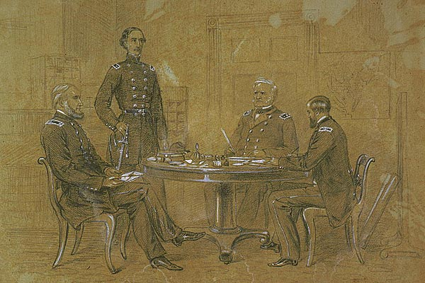 General Winfield Scott giving orders to his aides for the advancement of the Grand Army
