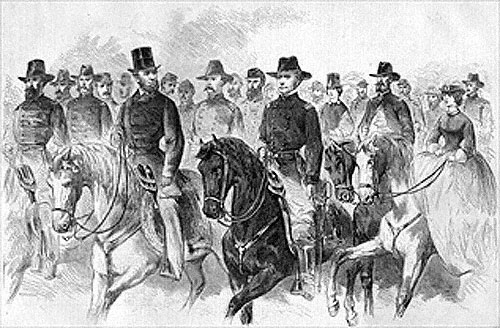 Abraham Lincoln and Joseph Hooker at Army Review