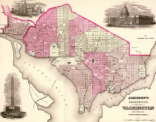 Georgetown and the City of Washington, the Capitol of the United States of America. Map