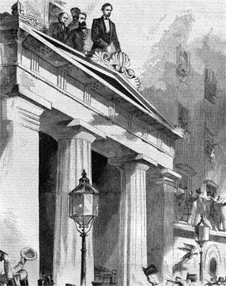 Abraham Lincoln Addressing People from Astor House Balcony
