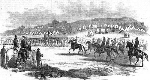 The war in the peninula- President Lincoln, attended by Gen. McClellan and staff, Reviewing the federal army