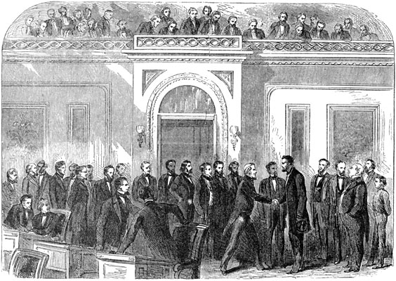 President-elect Lincoln pays a visit to the House of Representatives on February 25, 1861